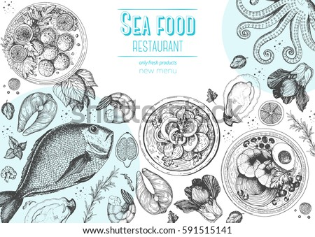 Vintage seafood frame vector illustration. Hand drawn with ink. Cooked seafood dish on the table top view.  Engraved style image