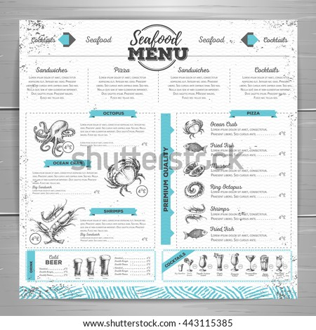 vintage seafood menu design