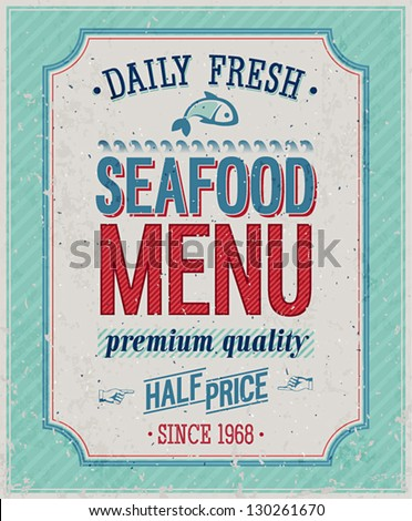 Vintage SeaFood Poster Vector illustration