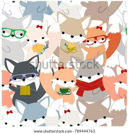 Vintage Seamless Celebrated Cute Foxy Fox Wolfblue Grey Paste Cartoon Backgroundanimal Pattern