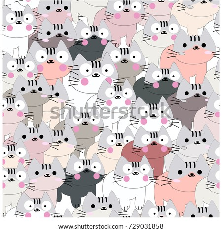 909258ae1a7 Vintage seamless cute baby cat pink grey pastel
