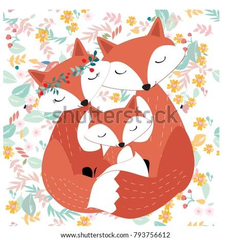vintage seamless cute fox wolf