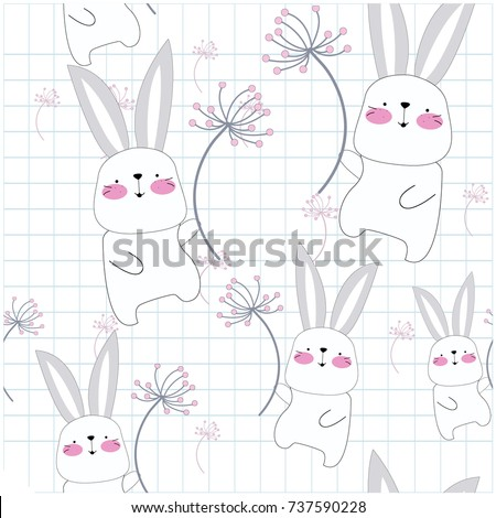 Stock Photo Vintage seamless cute rabbit bunny blue grey pastel in the sky with dandelion flower cartoon,pattern vector hand draw doodle comic art illustration for card on notebook paper background