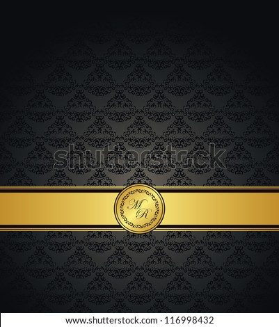 Vintage seamless damask wallpaper with a gold ribbon. Can be used as greeting card or invitation - stock vector