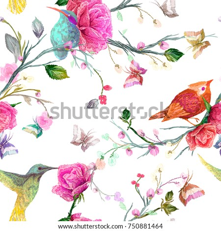 Vintage Seamless floral pattern: bird, butterfly and flower, leaf, branch, isolated on background. Imitation of embroidery, watercolor. Hand drawn vector illustration, separated editable elements.