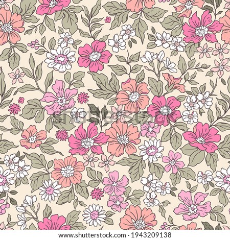 Vintage seamless floral pattern. Liberty style background of small coral pink flowers. Small flowers scattered over a ecru background. Stock vector for printing on surfaces. Realistic flowers.