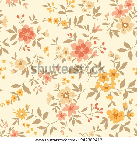 Vintage seamless floral pattern. Liberty style background of small pastel flowers. Small blooming flowers scattered over a white background. Stock vector for printing on surfaces and web design.