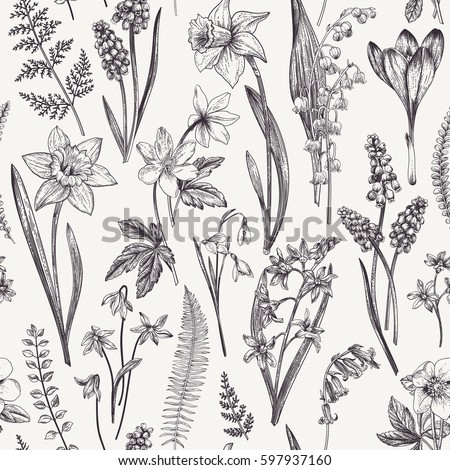 Vintage seamless floral pattern. Spring flowers and  herbs. Botanical vector illustration. Narcissus, lily of the valley, hellebore, snowdrop, crocus. Engraving. Black and white.
