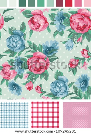 Vintage Seamless floral peony pattern. Use to create fabric projects or design elements for scrap booking, greeting cards, textiles. Elegance illustration.