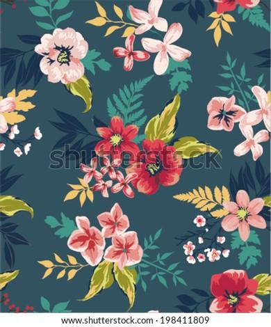 vintage seamless flower vector pattern background