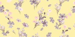 Vintage seamless flowers. Delicate floral pattern for fashion prints. Daisy design for background textile, wallpapers, wrapping, paper.