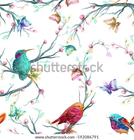 vintage seamless pattern  bird