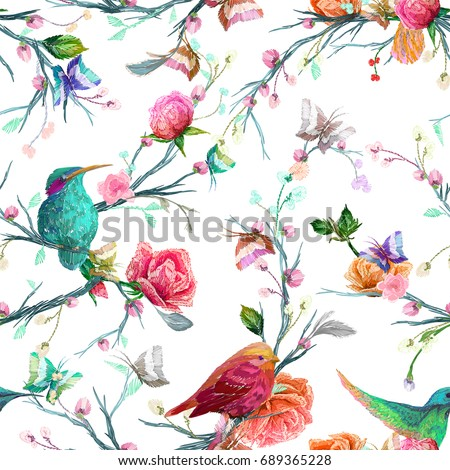 Vintage Seamless pattern: bird, butterfly and flower, leaf, branch, isolated on background. Imitation of embroidery, watercolor. Hand drawn vector illustration, separated editable elements.