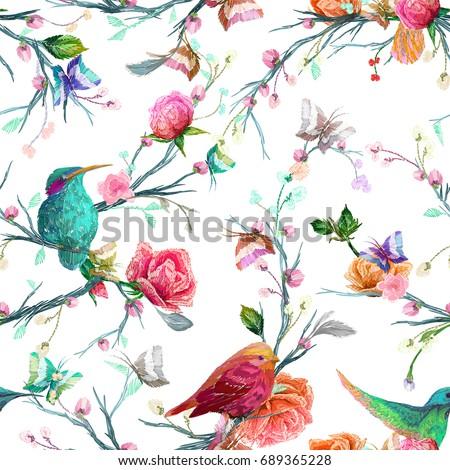 vintage seamless pattern  bird