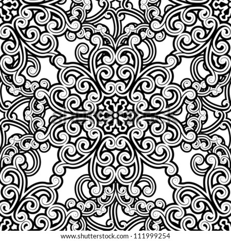 Vintage seamless pattern, black and white floral background, vector illustration