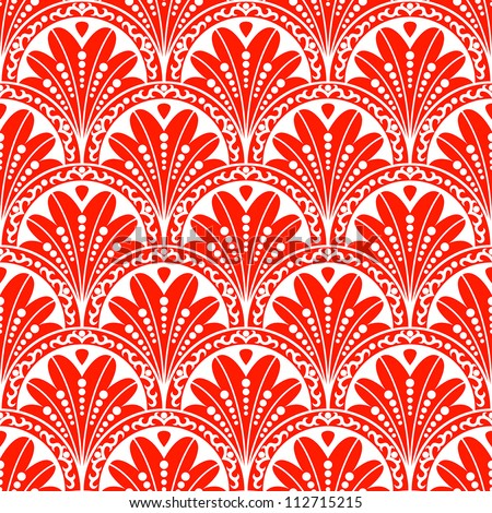 Vintage seamless pattern. EPS-8, endless floral ornament in asian vintage style. Original author's design, hand-drawn.