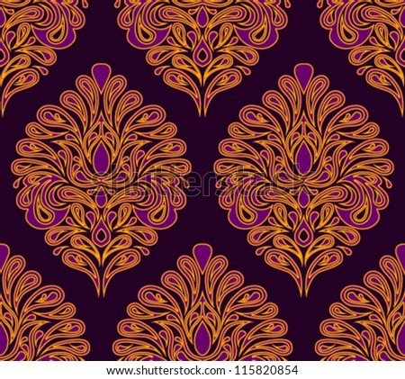 Vintage seamless pattern. EPS-8, endless floral ornaments in vintage style. Original author's design, hand-drawn.