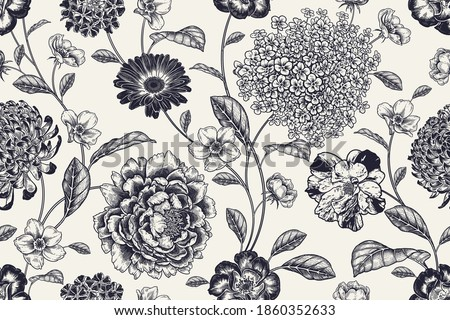 Vintage seamless pattern. Floral black white background. Flowers roses, peonies, hydrangea, chrysanthemum. Handmade graphics. Victorian style. Textiles, paper, wallpaper decoration. Ornamental cover. Foto d'archivio ©