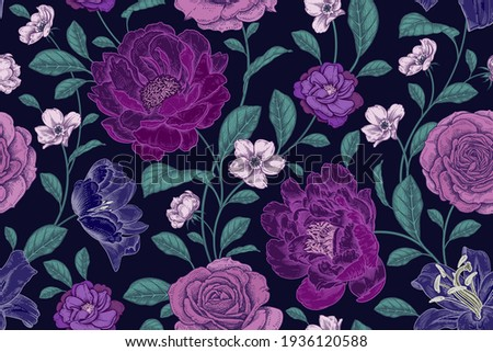 Vintage seamless pattern. Floral color background. Garden flowers roses and peonies. Handmade graphics. Victorian style. Textiles, paper, wallpaper decoration. Ornamental cover. Vector.