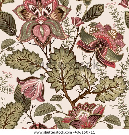 Vintage seamless pattern. Flowers background in provence style. Stylized climbing flowers. Decorative ornament backdrop for fabric, textile, wrapping paper, card, invitation, wallpaper, web design.