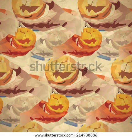 Vintage seamless pattern of pumpkins and a hand with a knife for a holiday Halloween