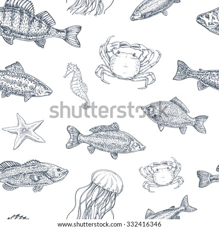 vintage seamless pattern of sea