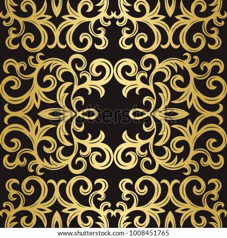 Vintage seamless pattern. Royal golden backgroynd. Elegance decoration. Vector illustratkon.
