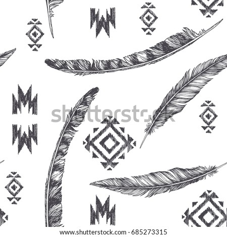 Vintage Seamless Pattern With American Indian Tribal Elements Vector Illustration Feathers And Mexican Ornaments