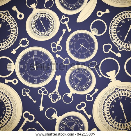 Vintage seamless pattern with clocks and keys