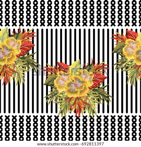 Vintage seamless pattern with cute tropical flowers on striped background. Handdrawn floral background for textile, cover, wallpaper, gift packaging, printing.Romantic design for calico, silk. #692811397