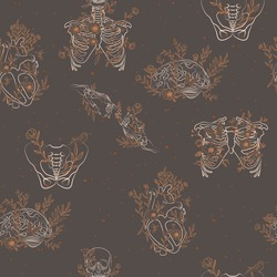 Vintage Seamless pattern with floral human skeleton and organs, heart, brain, ribcage, hand, thigh. Editable vector illustration.