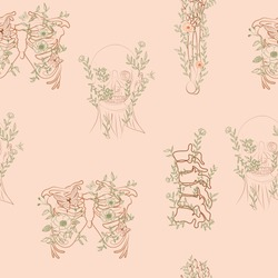 Vintage Seamless pattern with floral human skeleton, ribcage, skull, hand, spine. Editable vector illustration.