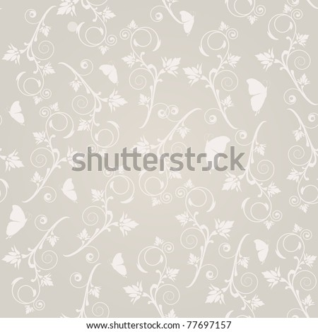 Vintage seamless  pattern with flowers and butterflies