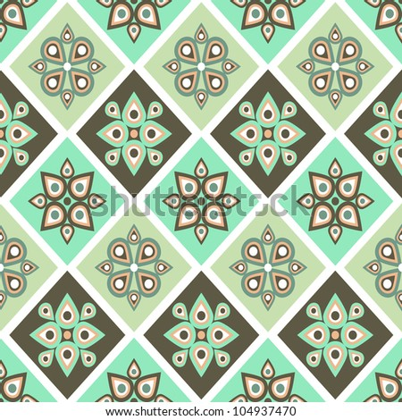 Vintage seamless pattern with geometrical ornate in pastel colors