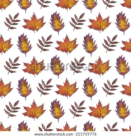 Vintage seamless pattern with leaves. Watercolor paint. Autumn theme.