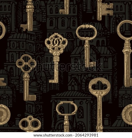 Vintage seamless pattern with old keys on a black backdrop with hand-drawn medieval buildings. Vector repeating background with obsolete golden keys. Suitable for wallpaper, wrapping paper or fabric