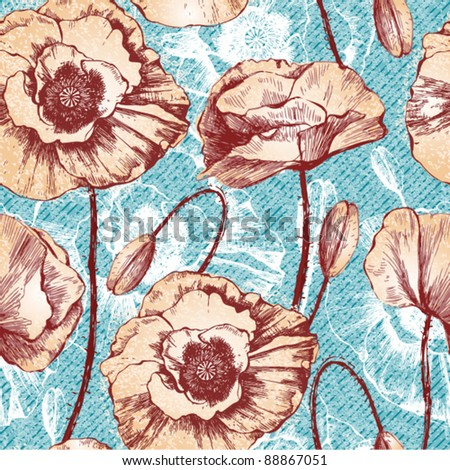 Vintage seamless pattern with poppy flowers, vector floral illustration - stock vector
