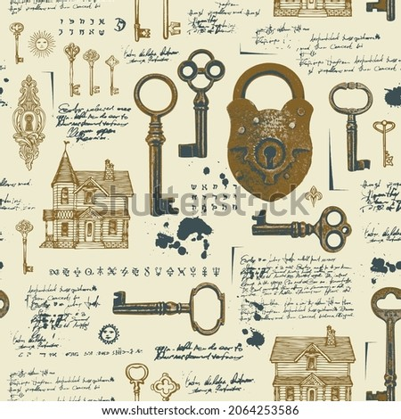 Vintage seamless pattern with rusty padlock, old keys, keyholes and hand-drawn log houses. Vector background with unreadable handwritten text and sketches. Wallpaper, wrapping paper, fabric