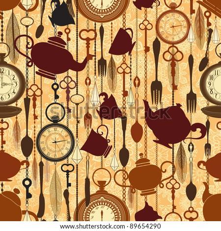 Vintage seamless tea time pattern