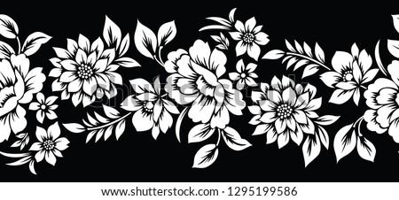 Vintage seamless vector floral border #1295199586