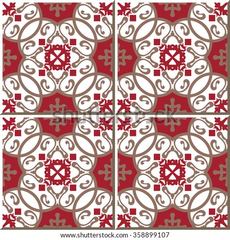Vintage seamless wall tiles of oriental red spiral for Klebefolie retro