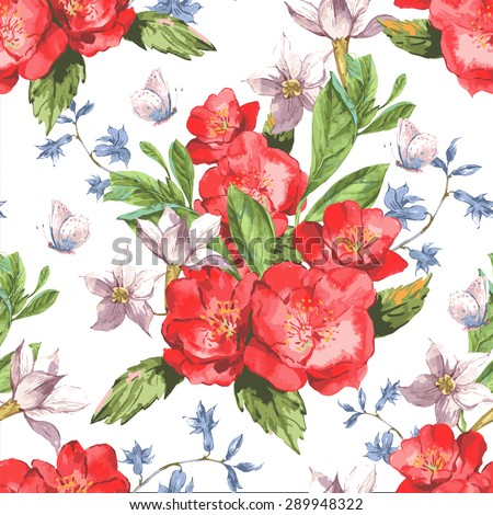 Vintage Seamless Watercolor Background with Blooming Red Roses, Vector Illustration