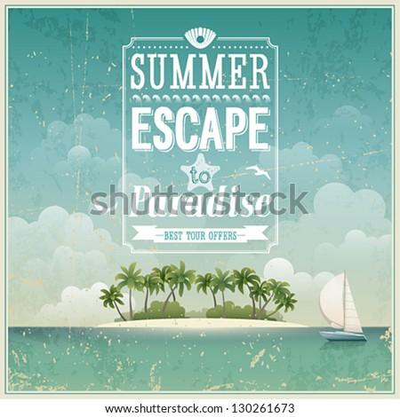 stock vector vintage seaside view poster vector background 130261673 - Каталог — Фотообои «Ретро»