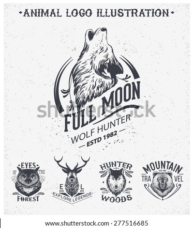 vintage set animal labels