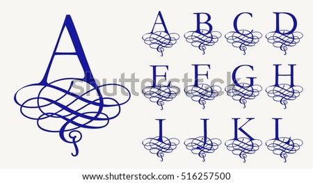 Calligraphic Capital Letters With Curls For Monograms And Logos Beautiful Filigree