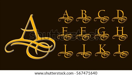 Vintage Set 1. Calligraphic capital letters with curls for Monograms and Logos. Beautiful Filigree Font With elements of Arabic calligraphy
