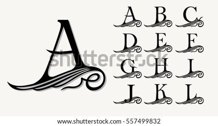 Vintage Set 1. Calligraphic capital letters with curls for Monograms, Emblems and Logos. Beautiful Filigree Font. Is at Conceptual wing or waves . Baroque style