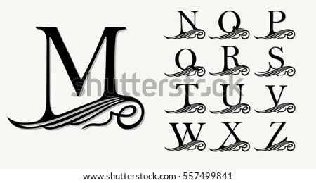 Vintage Set 2. Calligraphic capital letters with curls for Monograms, Emblems and Logos. Beautiful Filigree Font. Is at Conceptual wing or waves . Baroque style