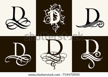 Capital Letter D For Monograms And Logos Beautiful Filigree Font Victorian