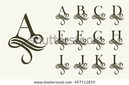 Capital Letter For Monograms And Logos Beautiful Filigree Font Victorian Style